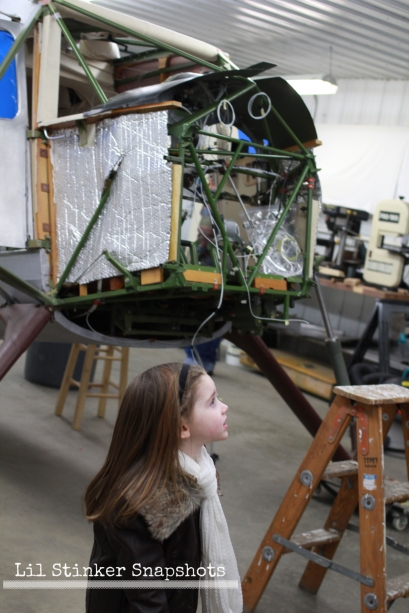 The front of the plane as it's being restored.